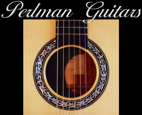 Perlman Guitars, mother of pearl rosette, Engleman spruce top